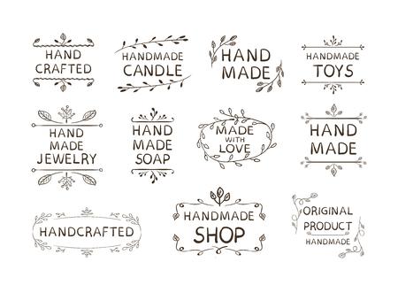 Conjunto de etiquetas diferentes hechas a mano, Ilustración de VECTOR, Doodle Marcos florales aislados sobre fondo blanco.