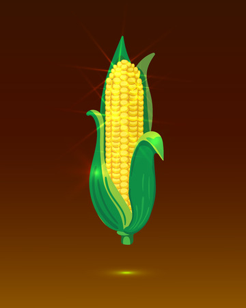 Golden Corn Ear, Shining VECTOR Illustration, Glowing Background Template.