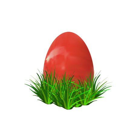 Red Easter Egg Hidden in Grass, Realistic VECTOR Illustration for Your Design.