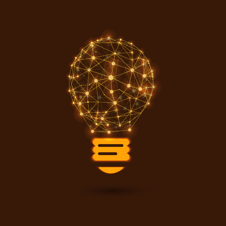 VECTOR Shining Lightbulb, New Idea, Network, Connected Glowing Dots.
