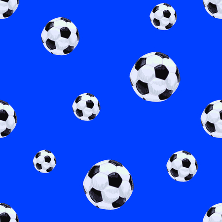 Football Balls Seamless Pattern Template, Endless VECTOR Background Template, Blue Backdrop, Drawn Balls. Illustration