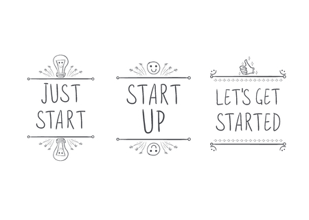 Start Up VECTOR Motivational Icons, Hand Drawn Lettering Isolated,