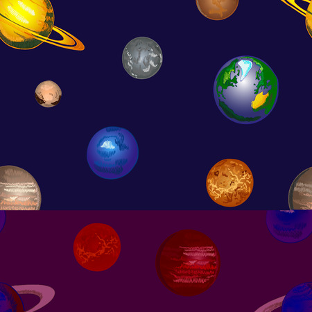 Doodle Cosmos VECTOR Background, Seamless Pattern, Hand Drawn Coloured Planets on Dark Background.