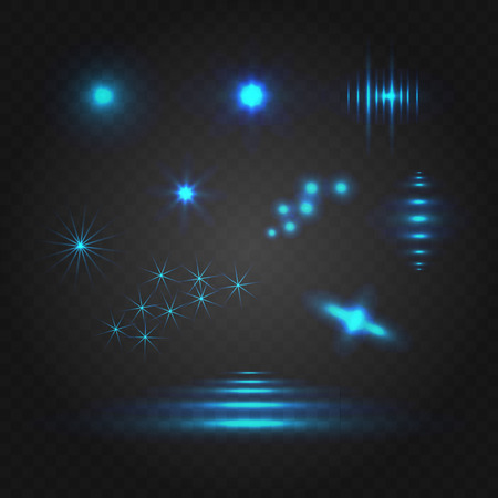 Blue Lights VECTOR Illustration, Blue Fire, Blur Shiny Abstract Shapes Set.