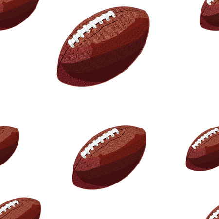 Seamless Pattern, VECTOR Background, American Football Balls. 矢量图像