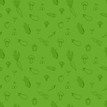 Seamless Pattern, VECTOR Doodle Vegetables, Healthy Eating Concept, Background Template. Illustration