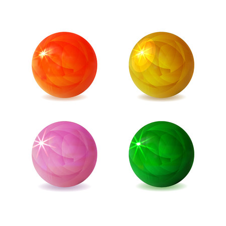 VECTOR Collection of Shiny 3D Spheres, Glowing Balls Isolated.