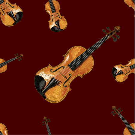 Seamless Pattern, VECTOR Ilustration, Violin on Dark Red Background.