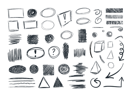 VECTOR Sketches Collection, Sketchbook Doodle Drawings, Set.