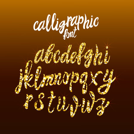 Calligraphic Golden Handwriting Font, VECTOR Gold Dust Letters Template, Shining Texture Letters.