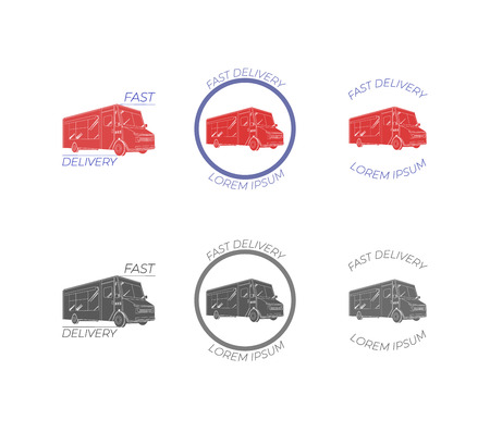 VECTOR Flat Shipping Fast Delivery, Food Truck Icons Set, Logo Templates Collection. Illustration