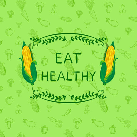 Healthy Eating VECTOR Motivational Poster Design Template, Doodle Hand Drawn Seamless Pattern with Vegetables and Frame with Lettering: Eat Healthy.