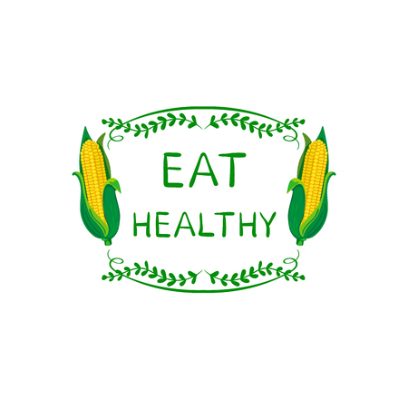 Eat Healthy VECTOR Illustration, Banner Template, Natural Frame, Doodle Drawn Elements and Corn, Healthy Lifestyle.