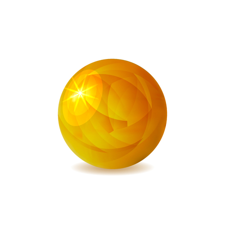 VECTOR Golden Ball, Shining Illustration Isolated on White Background, Realistic Sphere. 矢量图像