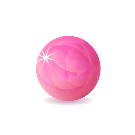 VECTOR Pink Ball, Shining Illustration Isolated on White Background, Realistic Sphere.
