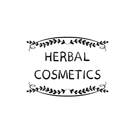 Herbal Cosmetics VECTOR Hand Drawn Packaging Stamp Label, Doodle Floral Frame, Black and White Illustration. Illustration