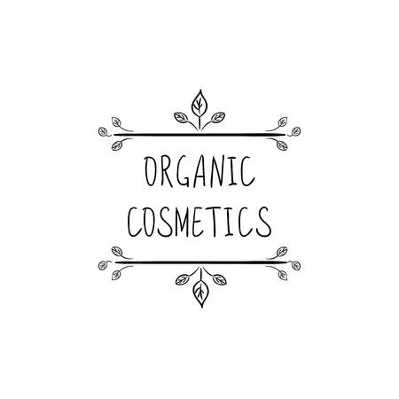 Organic Cosmetics VECTOR Hand Drawn Packaging Stamp Label, Doodle Floral Frame, Black and White Illustration.