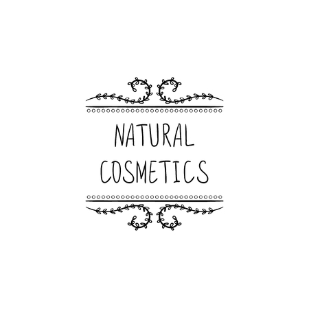 Natural Cosmetics VECTOR Hand Drawn Packaging Stamp Label, Doodle Floral Frame, Black and White Illustration. 矢量图像