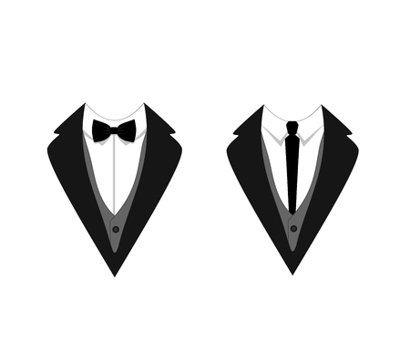 Man's Jackets Tuxedo, Weddind Suit with Bow Tie and Tie VECTOR Isolated Illustrations. 矢量图像