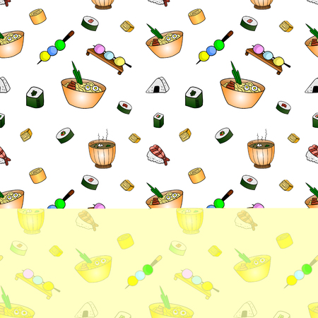Japanese Food Doodle Seamless Pattern, VECTOR Illustration, Festival Street Food Backdrop.
