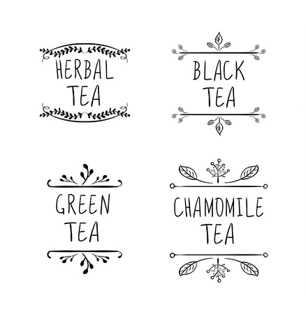 Tea Logo VECTOR Drawings Collection, Black Lines Isolated on White Background, Tea Labels, Handmade Tea Concept.