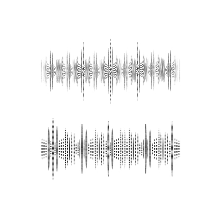 Halftone Sound Wave, VECTOR Illustration, Black and White Icons, Music Waves.