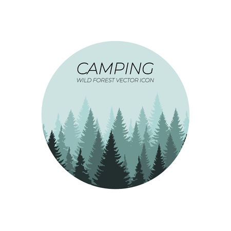 Wild Forest Camping VECTOR Logo Illustration, Circle Shape.