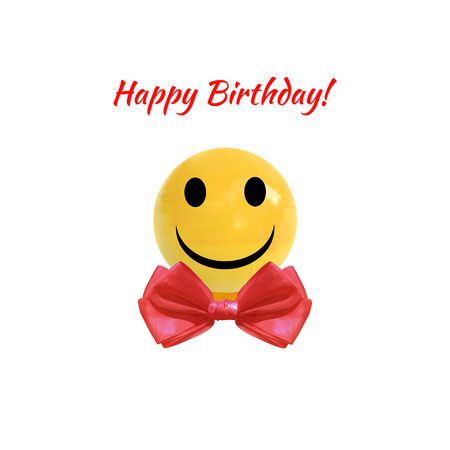 Happy Birthday VECTOR Illustration, Smiley Face On Realistic Yellow Ball with Red Bow Tie, Isolated on White Icon.