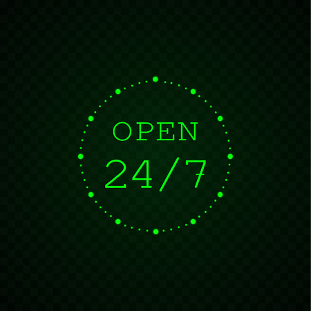 Glowing 24 7 VECTOR Icon, Round the Clock Open, Banner Sign Template, Green Neon Sign.