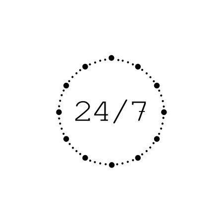 24 7 VECTOR Icon, Round the Clock Open, Banner Sign Template, Hot Line Sign.