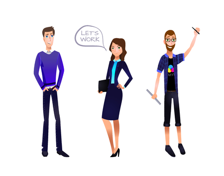 Business Team VECTOR Illustration, Characters Set: Businessman, Businesswoman, Designer.