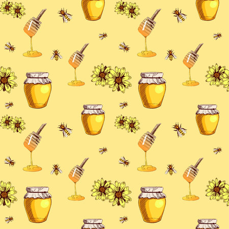 Honey Seamless VECTOR Pattern,Yellow Background with Honey Spoons, Jars of Honey, Bees and Flowers, Colored Illustration.
