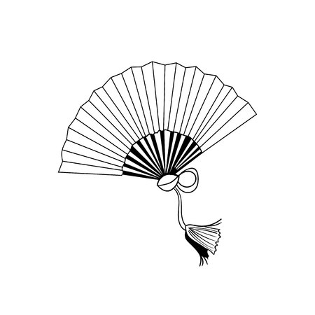 VECTOR Japanese Fan Icon, Outline Drawing, Illustration Isolated Background.