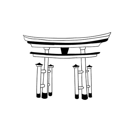 Torii Gate, Japanese VECTOR Landmark, Outline Drawing, Icon Isolated on White Background.