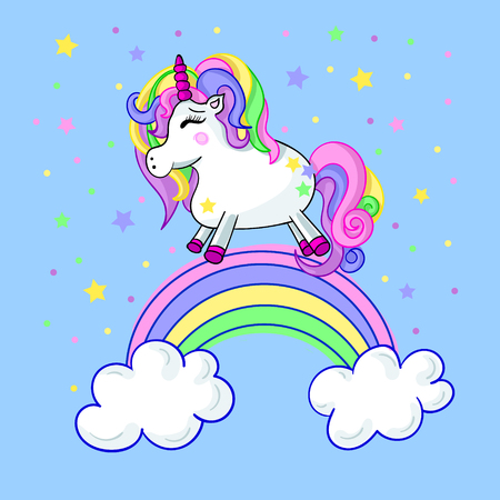 Vector cute illustration of unicorn
