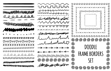 Sketched set of divider lines and frames on white background, isolated vector illustration. Illustration
