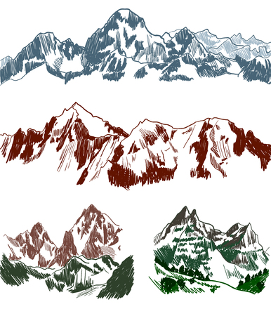 Mountains sketches set isolated on white background, Vector Illustration.