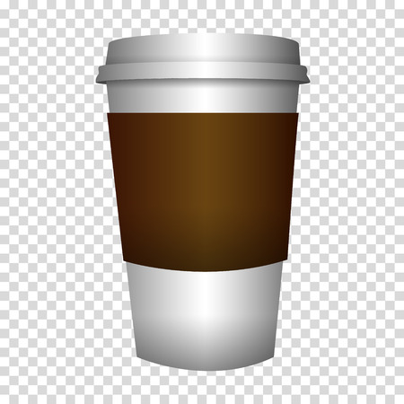 VECTOR coffee to go in cup isolated on transparent background.
