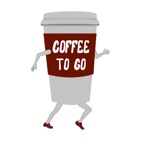 Running coffee to go cup with legs and hands, funny vector illustration