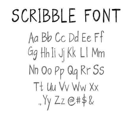 Scribble font template, VECTOR script, letters isolated on white.