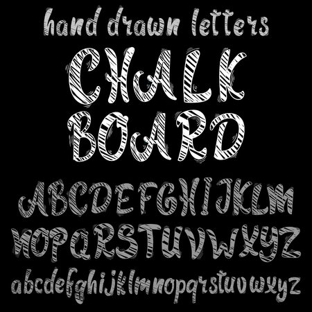 Chalk hand drawn alphabet, vector font on black background.