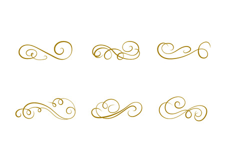 VECTOR collection of design elements, calligraphic swirls and scrolls for certificate decoration, greeting cards, wedding invitations. Golden line background.