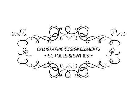 Vector Calligraphic Swirls Frame Template, Text Decoration For Certificate, Greeting Cards, Black and White Illustration. 向量圖像