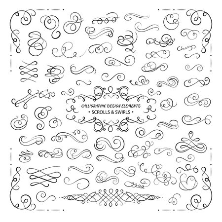 VECTOR collection of design elements, calligraphic swirls and scrolls for certificate decoration, greeting cards, wedding invitations. Black line isolated on white background.