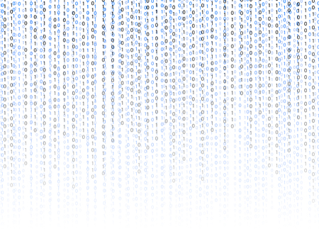 Binary code 01 vector background, technology illustration, gradient numbers stream. Vector Background.