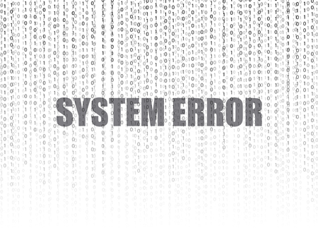 Binary code Vector background, technology illustration, numbers stream and SYSTEM ERROR words