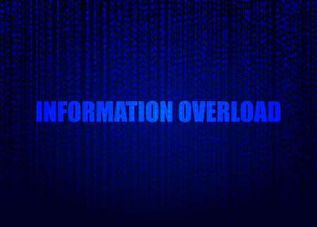 Data Concept: Vector Background, Digital Art, Information Overload Bright Blue Illustration.
