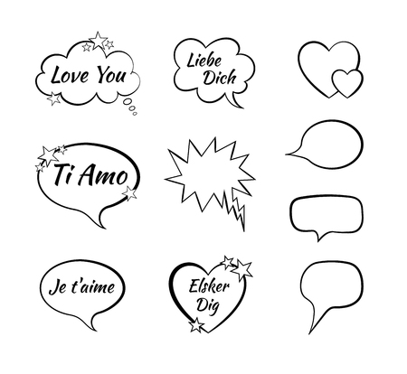 Vector Collection Of Speech Bubbles, Comic Design Elements, I Love You on different languages.