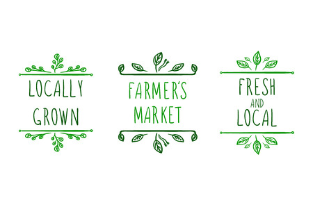 Farming Hand Drawn Vector Icons, Doodle Floral Frames, Green Drawings Isolated On White Background.