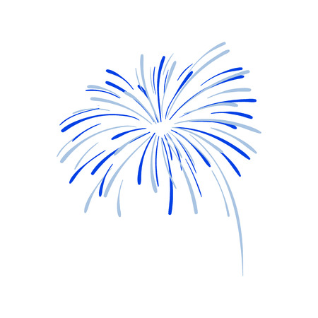 Hand Drawn Firework Explosion, Blue Cracker, Vector. Illustration